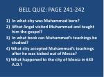 BELL QUIZ: PAGE 241-242