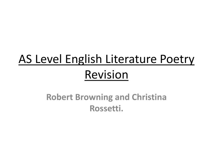 as level english literature poetry revision n.