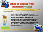 What to Expect from Managers  – Skills !