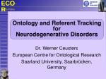 Ontology and Referent Tracking for Neurodegenerative Disorders