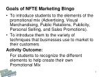 Goals of NFTE Marketing Bingo