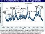 Stock market  volatility  spikes after major shocks