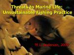 Threats to Marine Life:   Unsustainable Fishing Practice