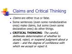 Claims and Critical Thinking