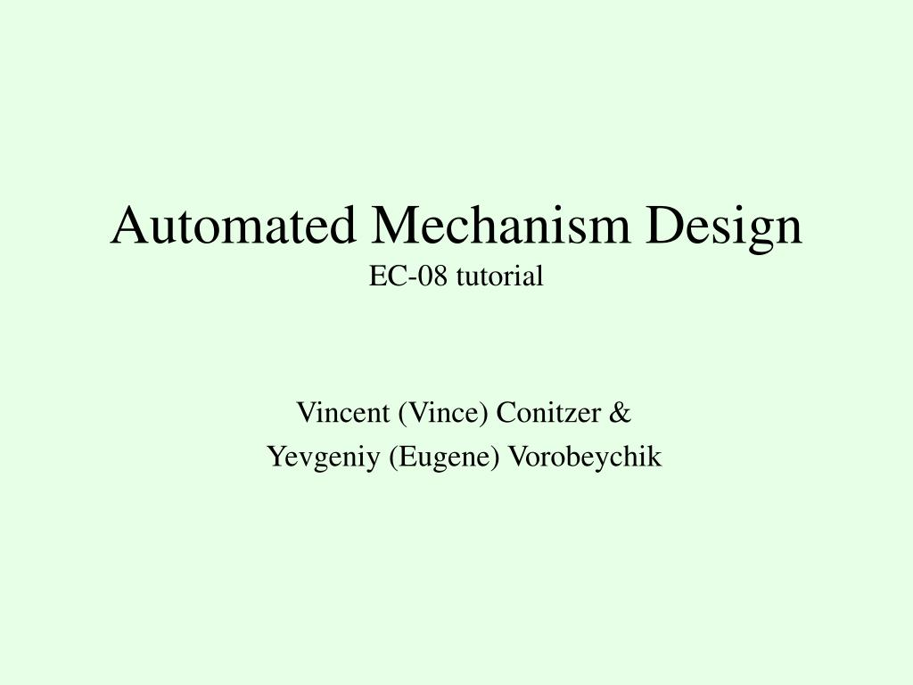 automated mechanism design ec 08 tutorial l.