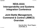 NDIA-AIAA Interoperability and Systems Integration Conference Joint Battle Management, Command & Control (JBMC2) Ove
