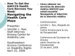 How To Get the AHCCCS Health Care Services You Need: Navigating the Health Care Maze Presenter:
