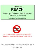 Guideline for REACH Registration, Evaluation, Authorization and Restriction of Chemicals Regulation (EC) No.1907/2006