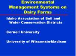 Environmental Management Systems on Dairy Farms