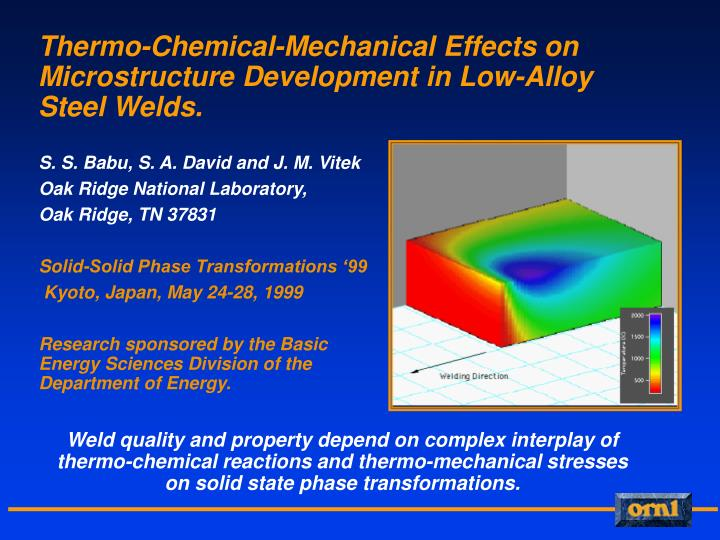 thermo chemical mechanical effects on microstructure development in low alloy steel welds n.