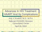 Advances In HIV Treatment:  HAART And Its Complications