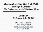 Deconstructing the 3-8 Math Multiple Choice To Differentiated Instruction