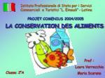 LA CONSERVATION DES ALIMENTS