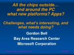 All the chips outside… and around the PC what new platforms? Apps? Challenges, what's interesting, and what needs doing