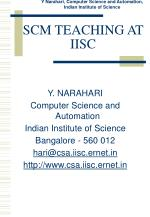 SCM TEACHING AT IISC