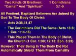 "Two Kinds Of Brethren: ""Carnal"" And ""Spiritual"""