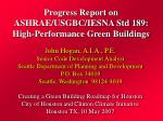Progress Report on ASHRAE/USGBC/IESNA Std 189: High-Performance Green Buildings