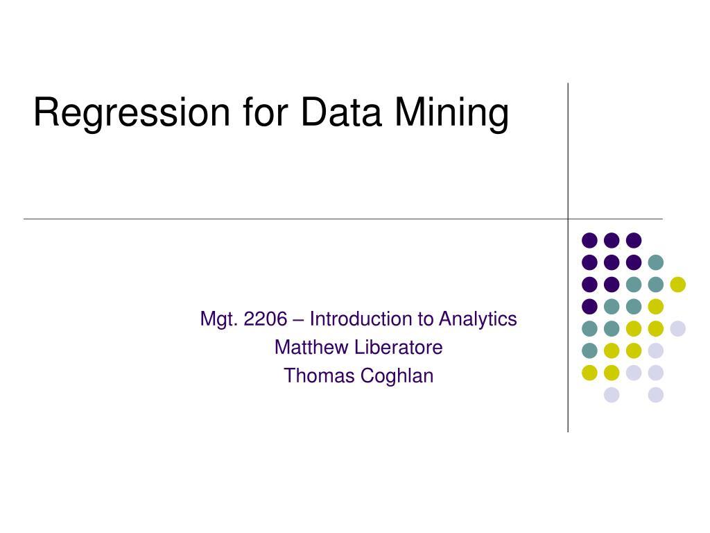 regression for data mining l.