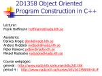 2D1358 Object Oriented Program Construction in C++