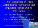 The Reanalysis of Three Catastrophic Hurricanes that Impacted Florida During the 1920's