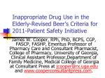 Inappropriate Drug Use in the Elderly-Revised Beer's Criteria for 2011-Patient Safety Initiative