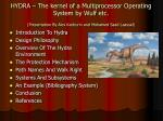 HYDRA – The kernel of a Multiprocessor Operating System by Wulf etc. (Presentation By Alex Kachurin and Mohamed Saad Laa