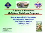 A Scout is Reverent: Religious Emblems Program