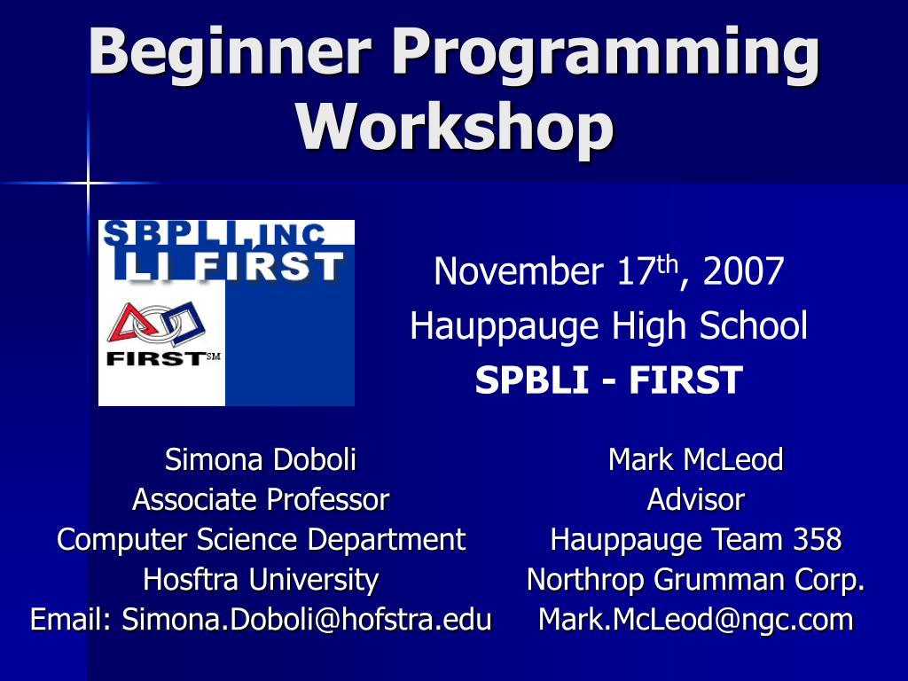 beginner programming workshop l.