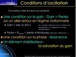 Conditions d'oscillation