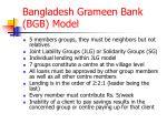 Bangladesh Grameen Bank (BGB) Model