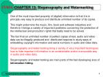 CHAPTER 1 3 : Steganography and Watermarking