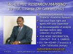 'ACADEMIC RESEARCH MAPPING' By Prof.  Elisante  Ole Gabriel (PhD)