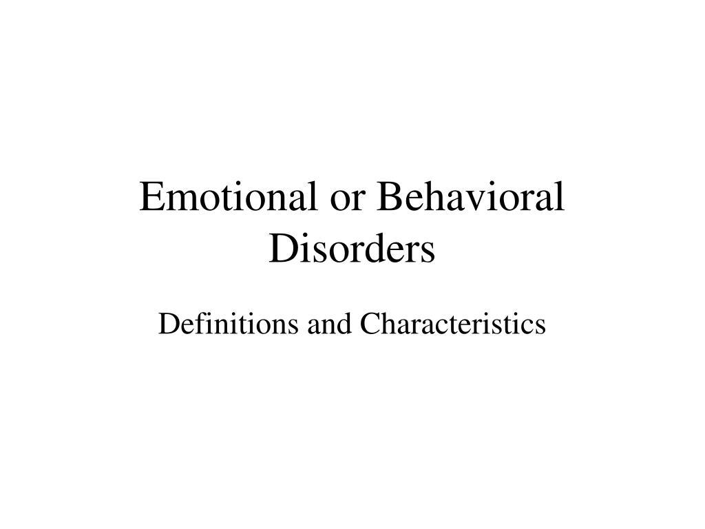 emotional or behavioral disorders l.