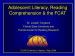Adolescent Literacy, Reading Comprehension & the FCAT