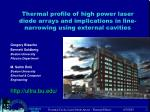 Thermal profile of high power laser diode arrays and implications in line-narrowing using external cavities