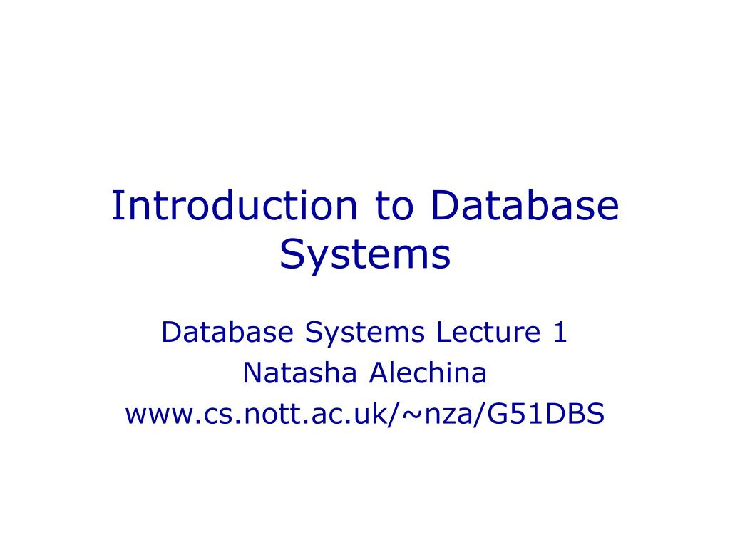 introduction to database systems l.