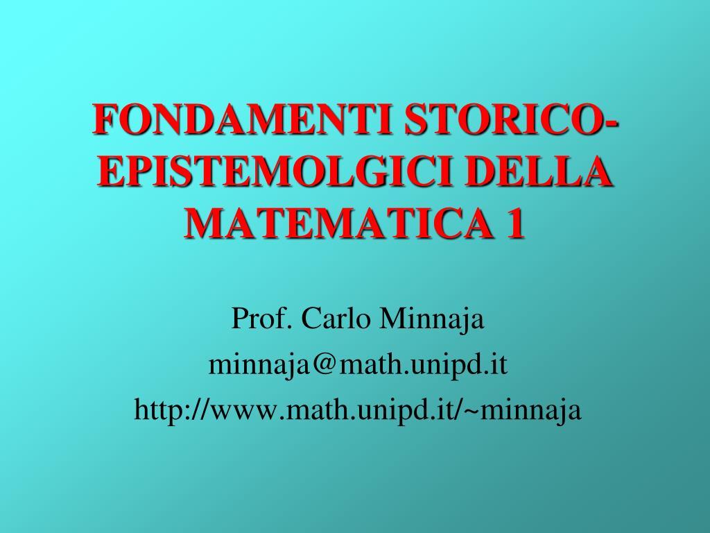 fondamenti storico epistemolgici della matematica 1 l.