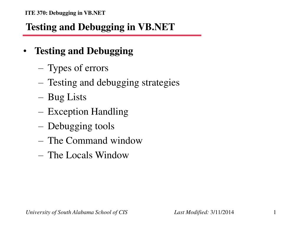testing and debugging in vb net l.