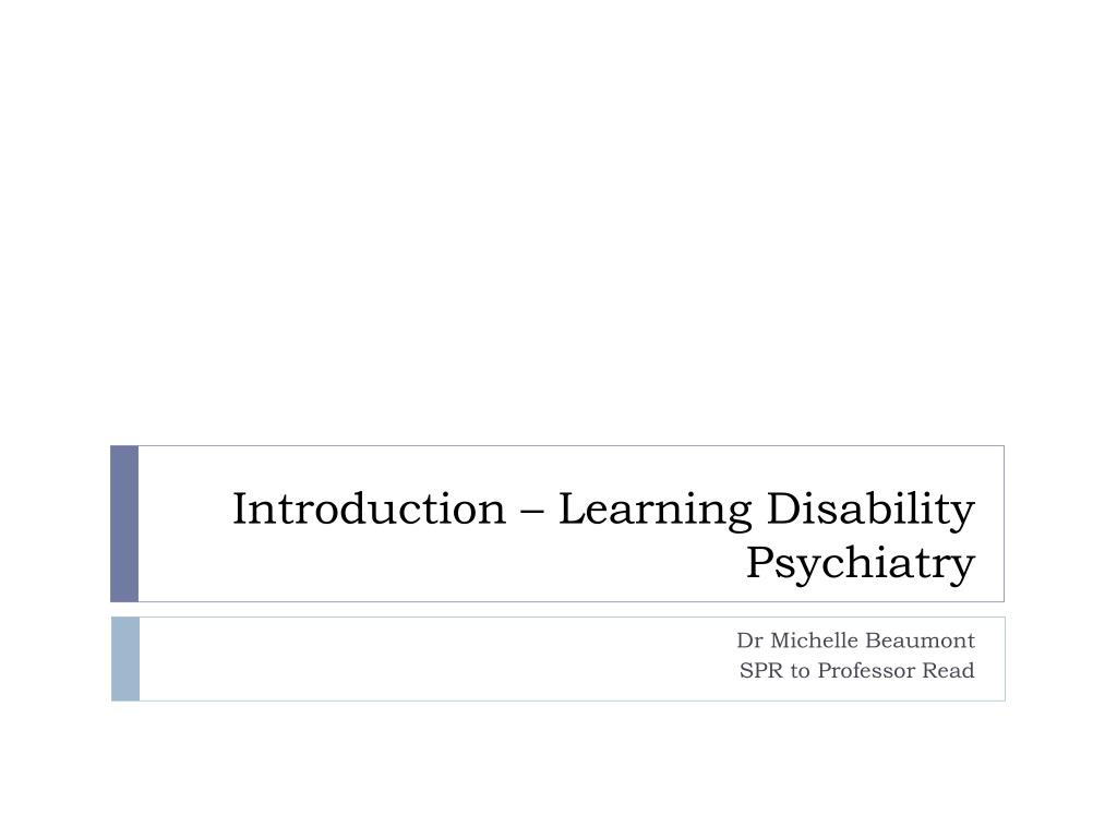 introduction learning disability psychiatry l.