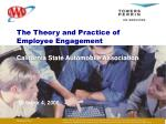 The Theory and Practice of Employee Engagement