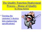 The Quality Function Deployment Process – House of Quality by Doug Sutton