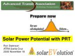 Solar Power Potential with PRT