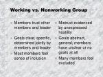 Working vs. Nonworking Group