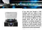 Usb Turntable Reviews