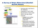 A Survey of Major Watershed (Rainfall-Runoff) Models