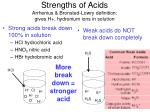 Strengths of Acids Arrhenius & Bronsted-Lowry definition: gives H+, hydronium ions in solution