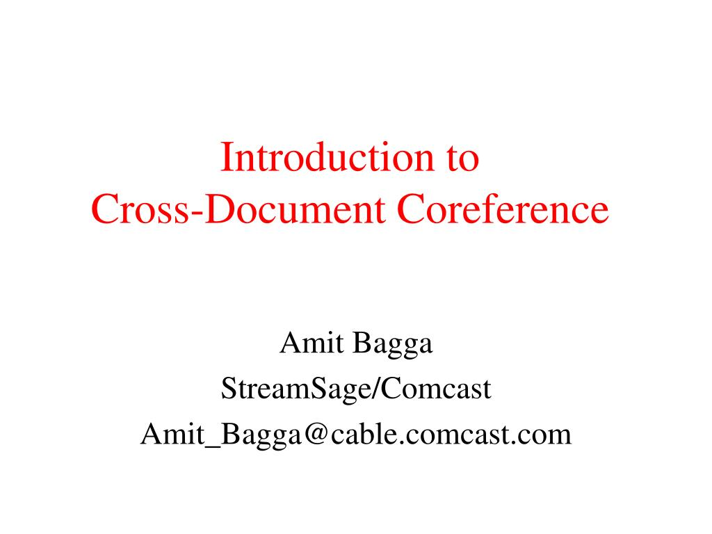 introduction to cross document coreference l.