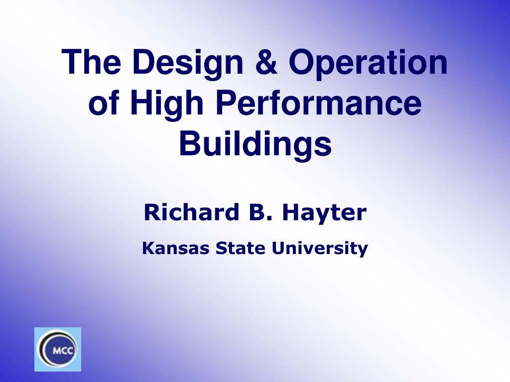 the design operation of high performance buildings l.