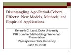Disentangling Age-Period-Cohort Effects: New Models, Methods, and Empirical Applications