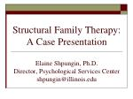 Structural Family Therapy: A Case Presentation Elaine Shpungin, Ph.D. Director, Psychological Services Center shpungin@i